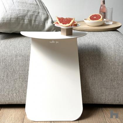 YOUMY round symetrical design side table - powdered white